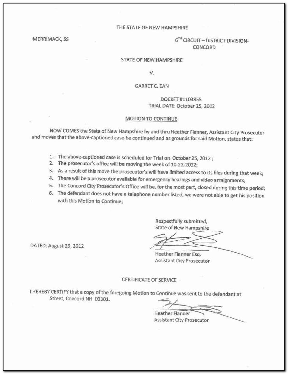 Motion For Continuance Template Florida