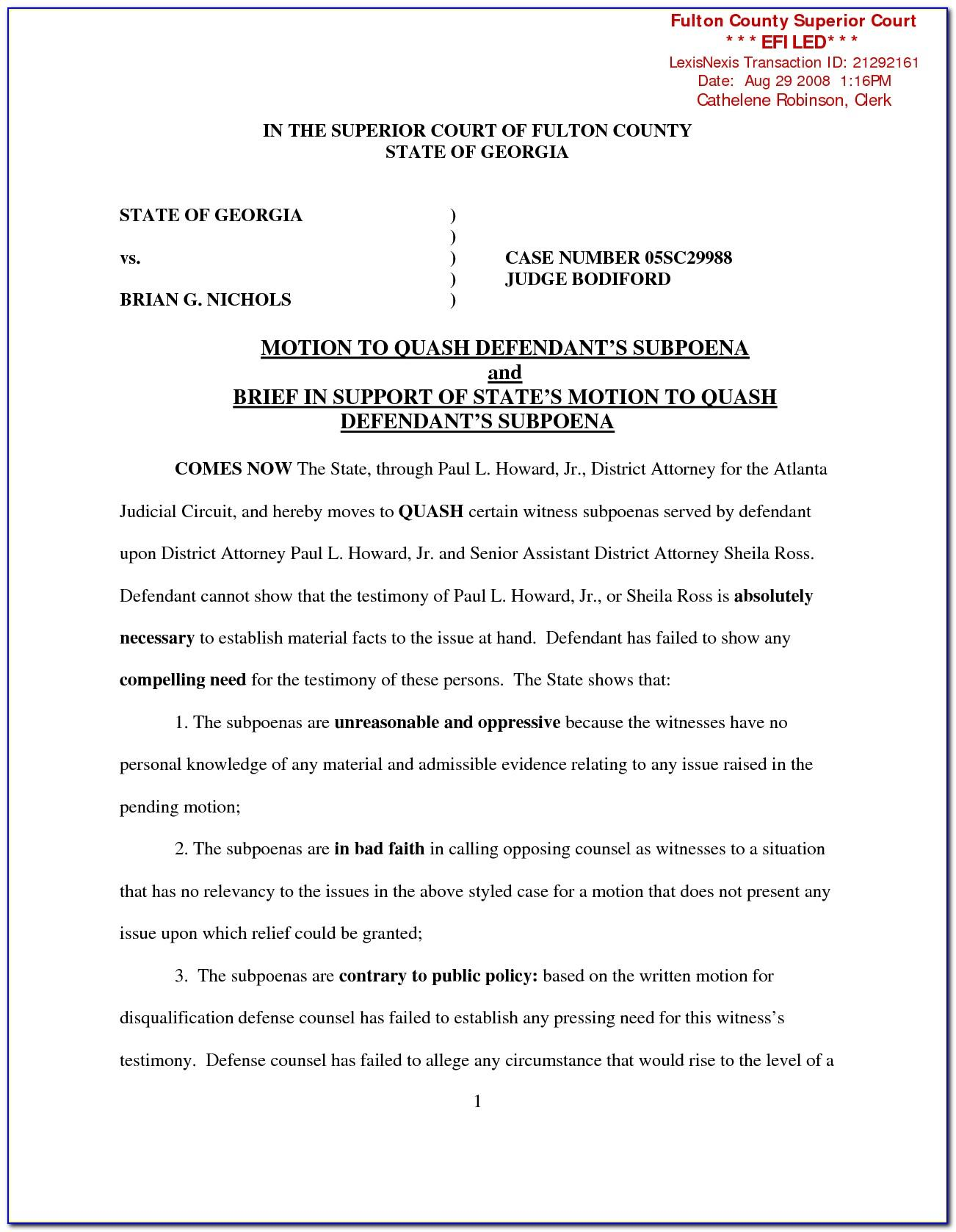 Motion For Continuance Template Missouri