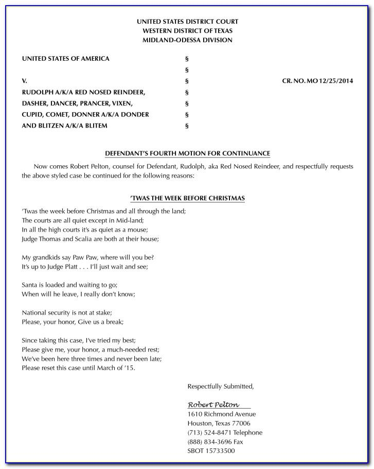 Motion For Continuance Template Texas