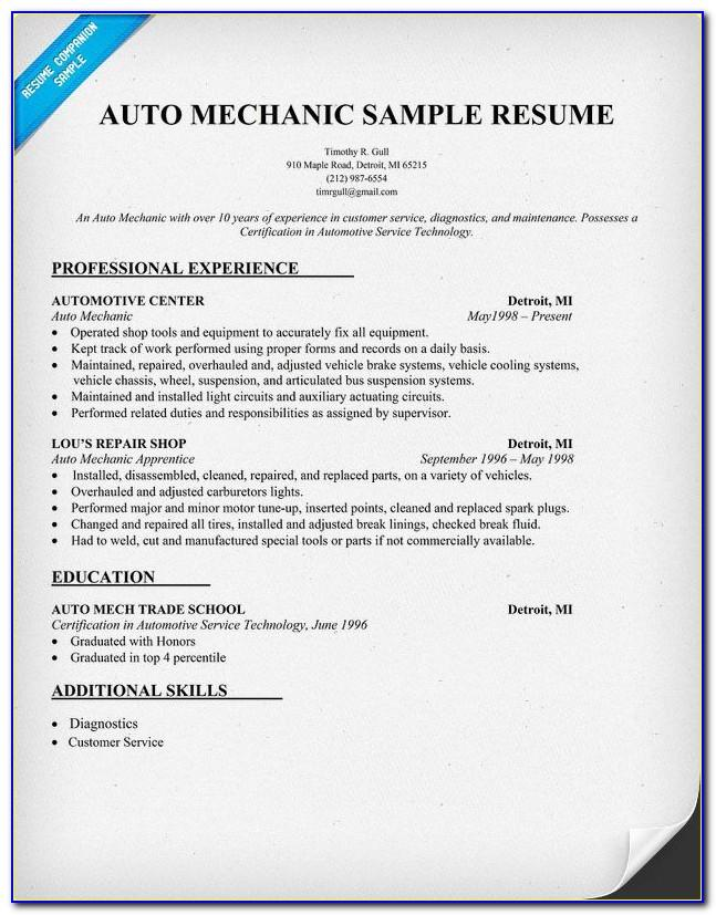 Motor Mechanic Cv Template