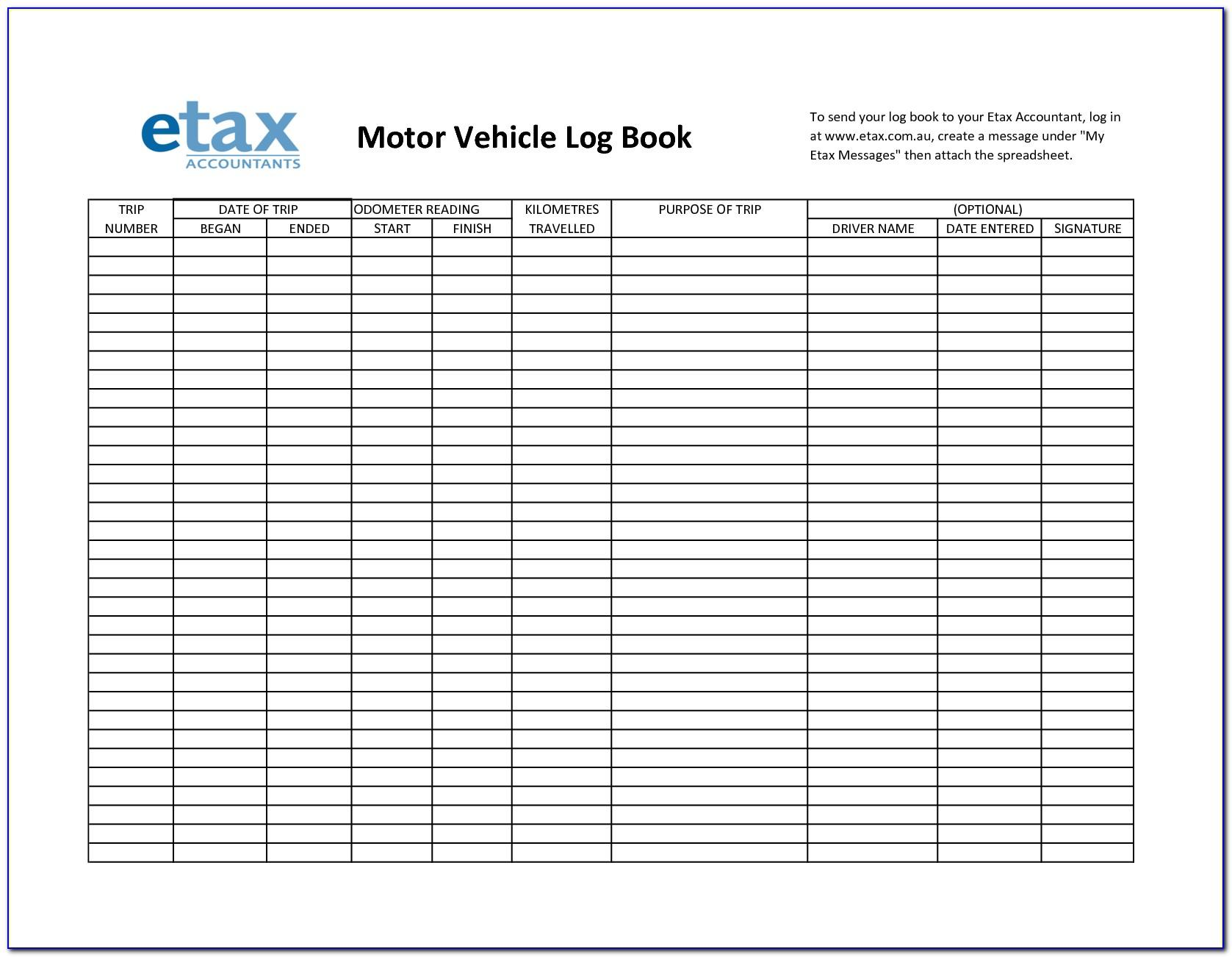 Motor Vehicle Expenses Log Book Template