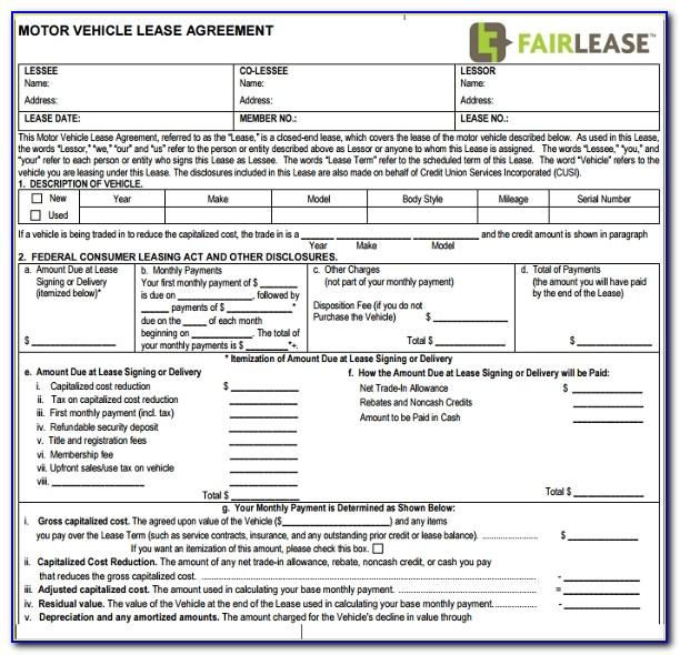 Motor Vehicle Lease Agreement Sample