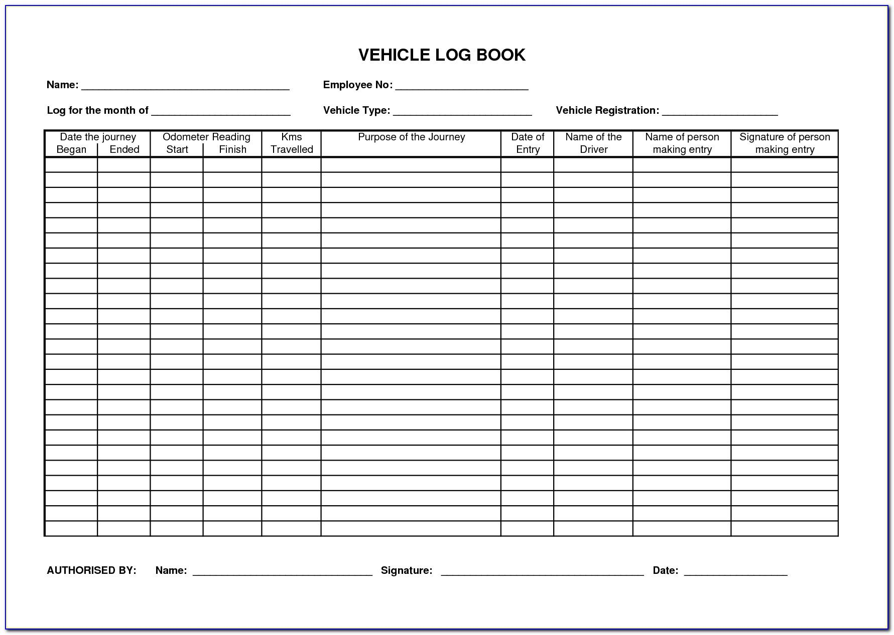 Motor Vehicle Log Book Template Ato