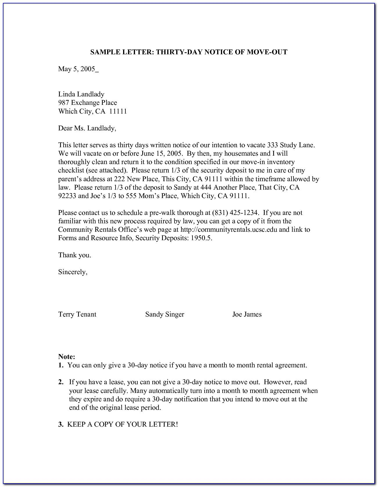 Moving Out Notice Letter Template