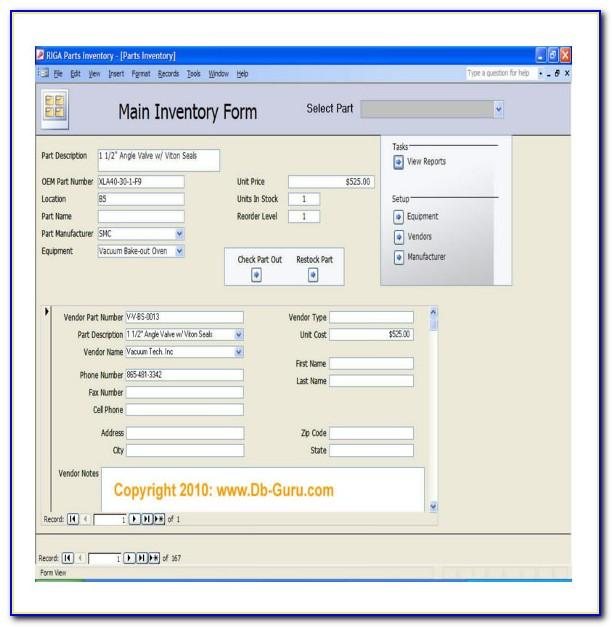 Ms Access Inventory Management Database Template