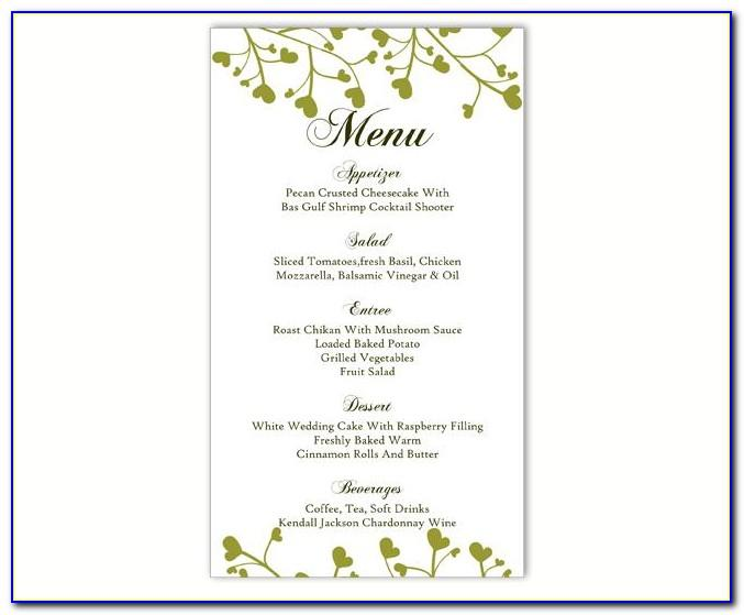 Ms Word Wedding Menu Template