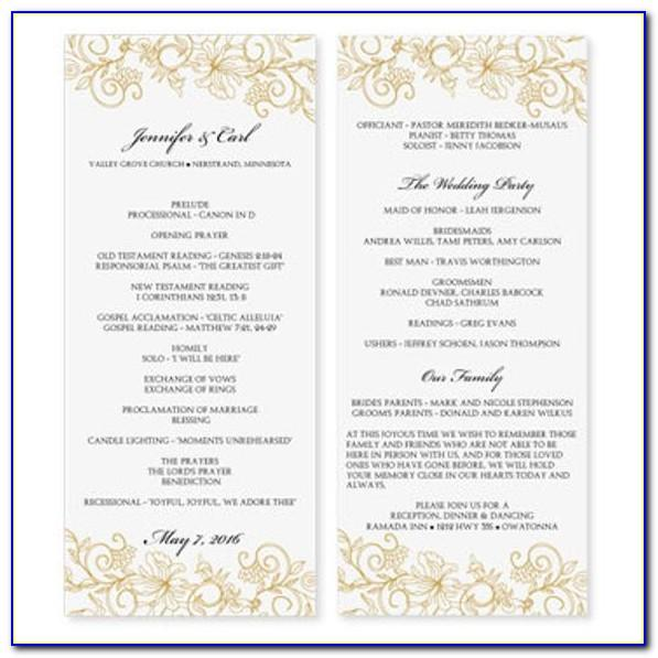 Ms Word Wedding Program Templates