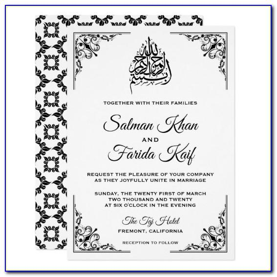 Muslim Wedding Invitation Card Template