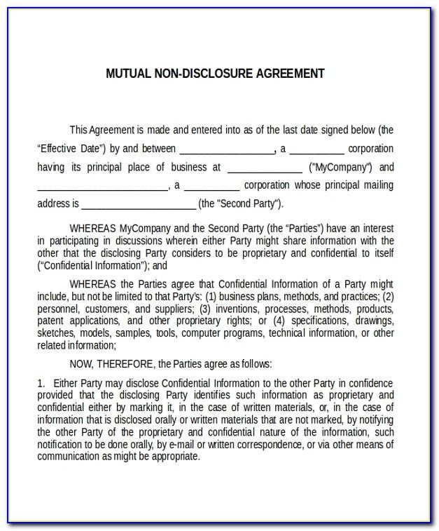Mutual Non Disclosure Agreement Sample Free