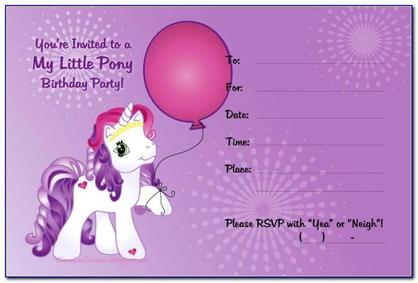 My Little Pony Birthday Invitations Free Template
