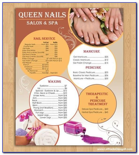 Nail Salon Menu Templates Free