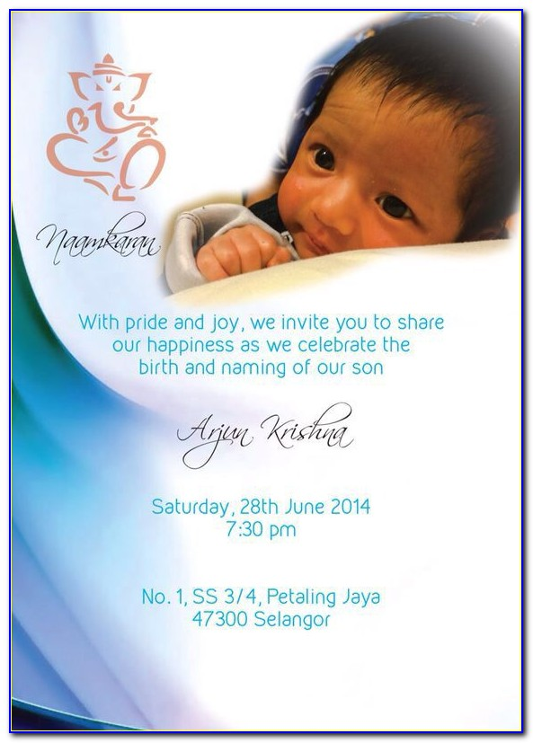 Naming Ceremony Email Invitation Format