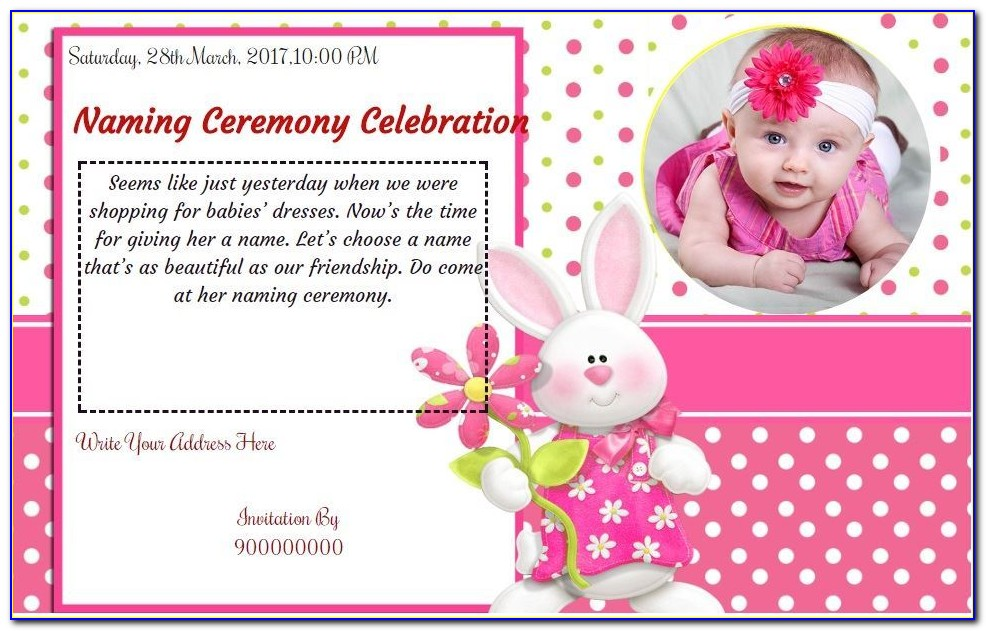 Naming Ceremony Invitation Card Template Free Download Indian