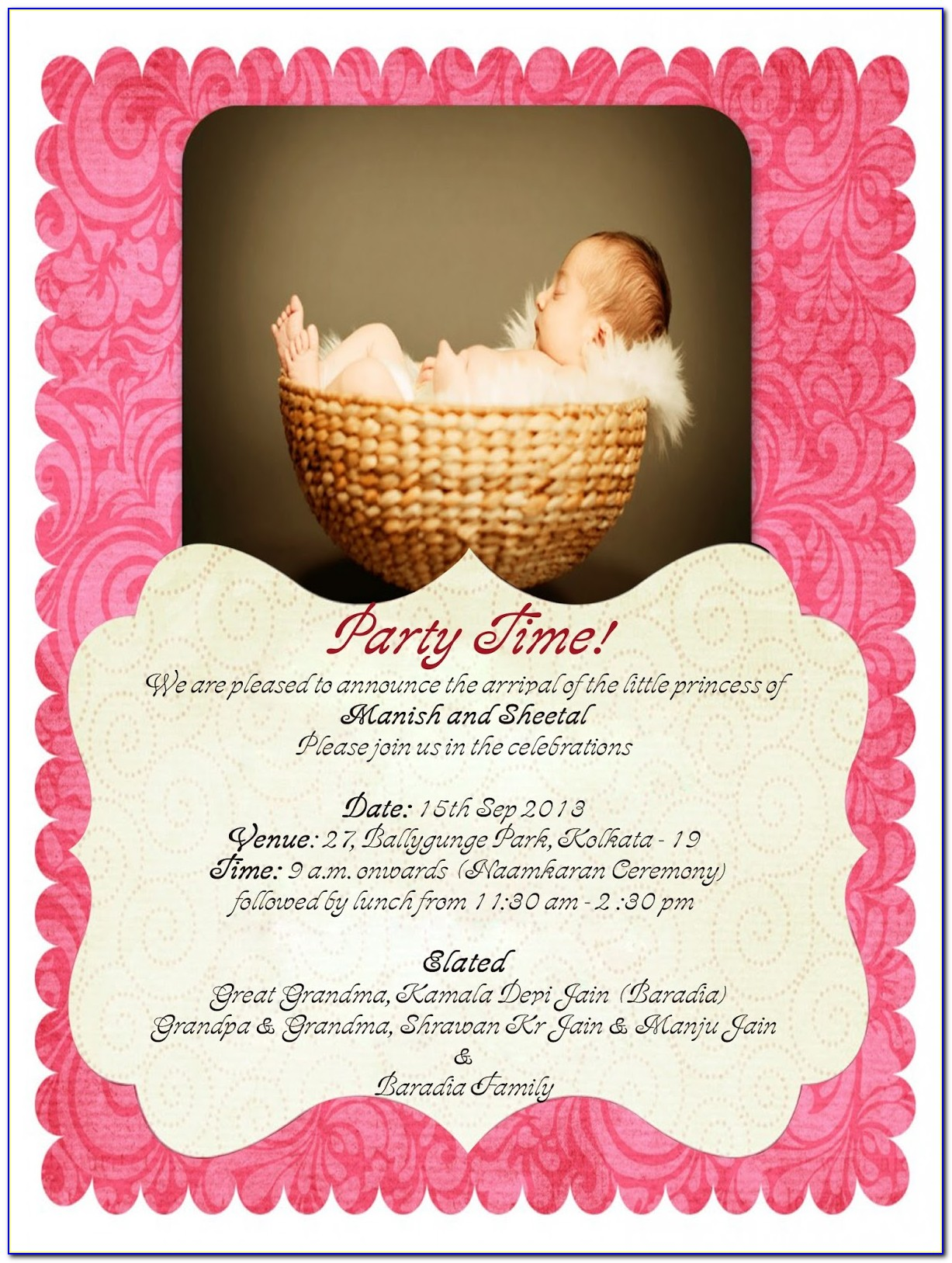 Naming Ceremony Invitation Cards Free Download