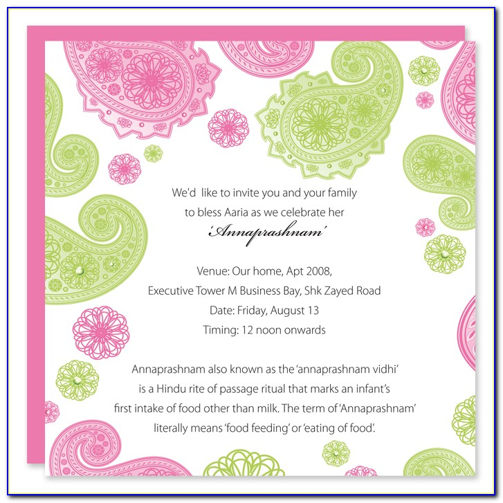 Naming Ceremony Invitation Format Indian