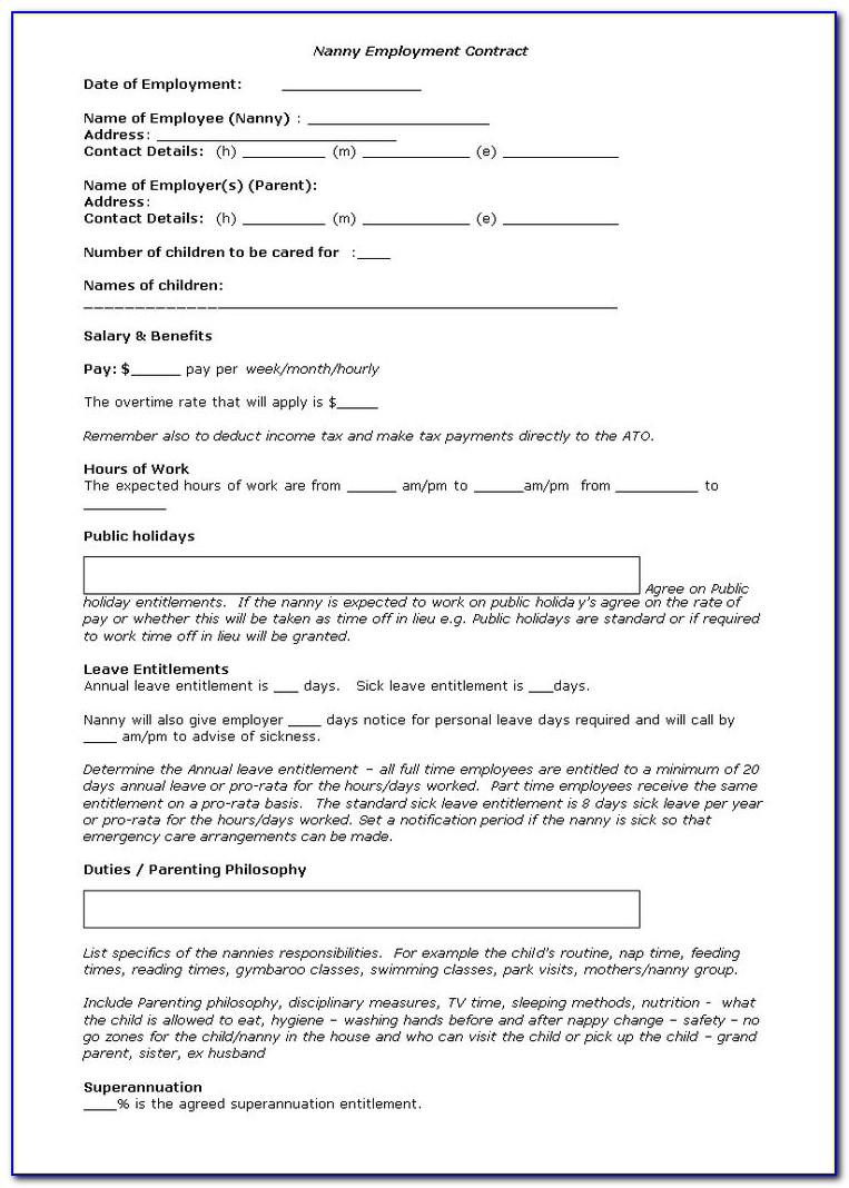 Nanny Contract Template Free Canada