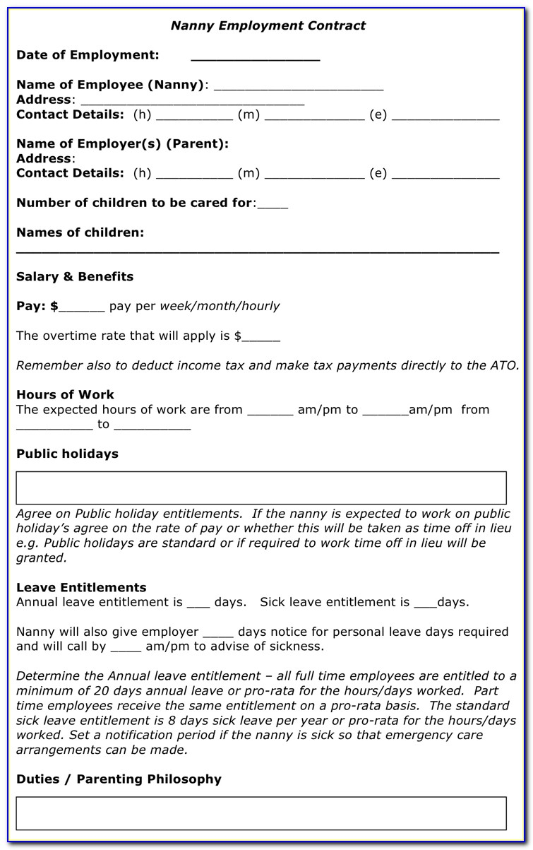 Nanny Employment Contract Template Canada