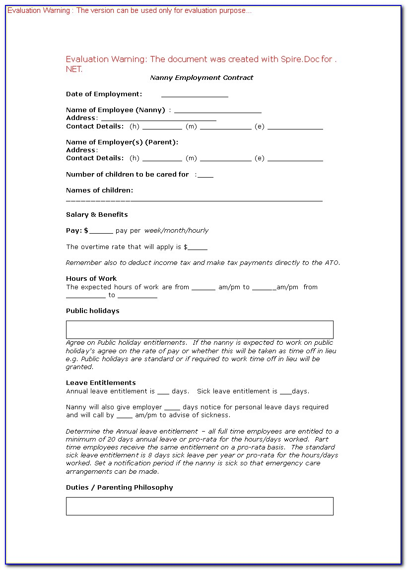 Nanny Employment Contract Template South Africa