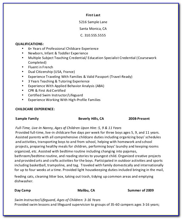 Nanny Resume Samples Free