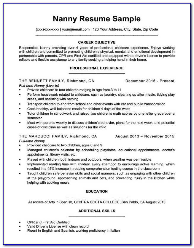 Nanny Resume Template Download