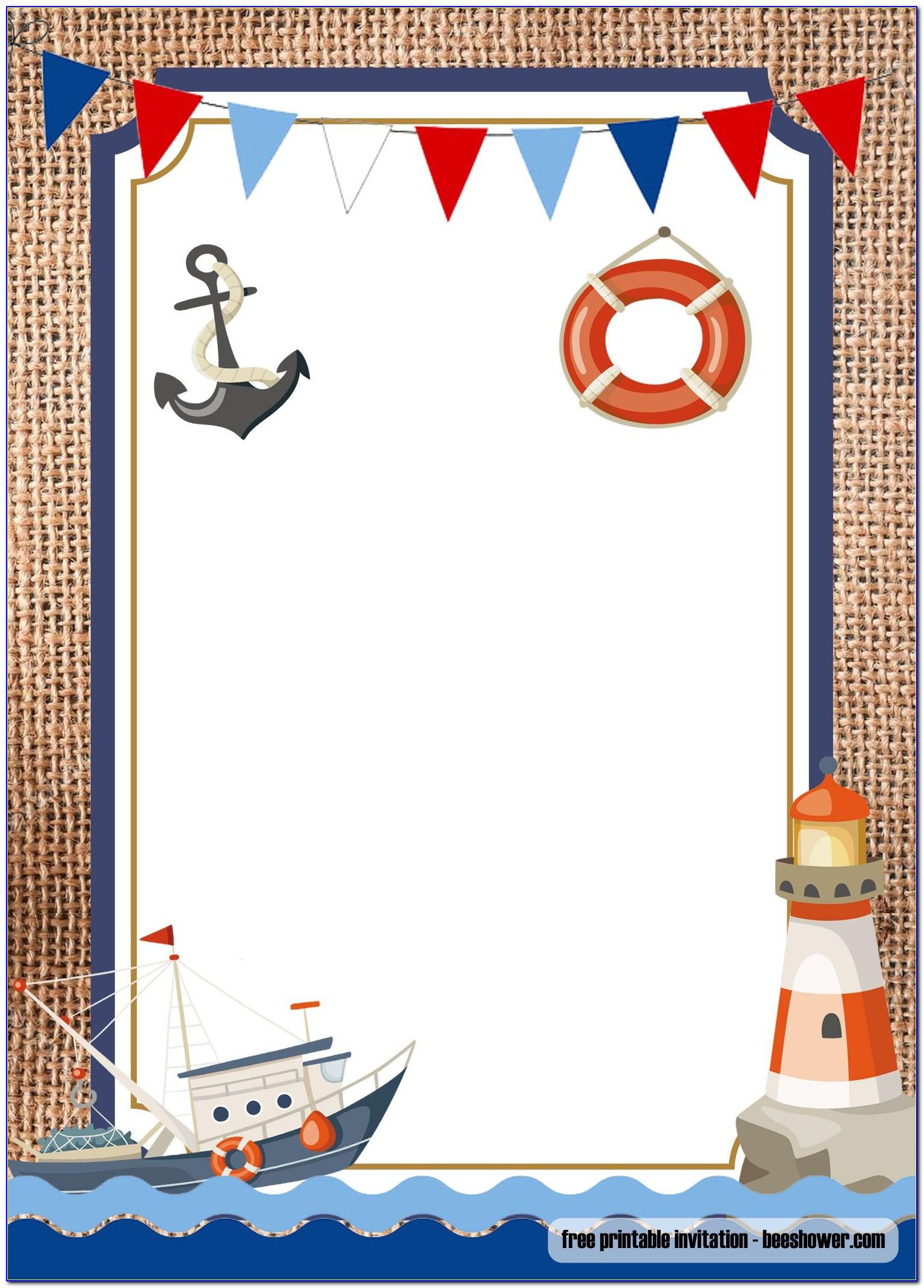 Nautical 1st Birthday Invitation Template