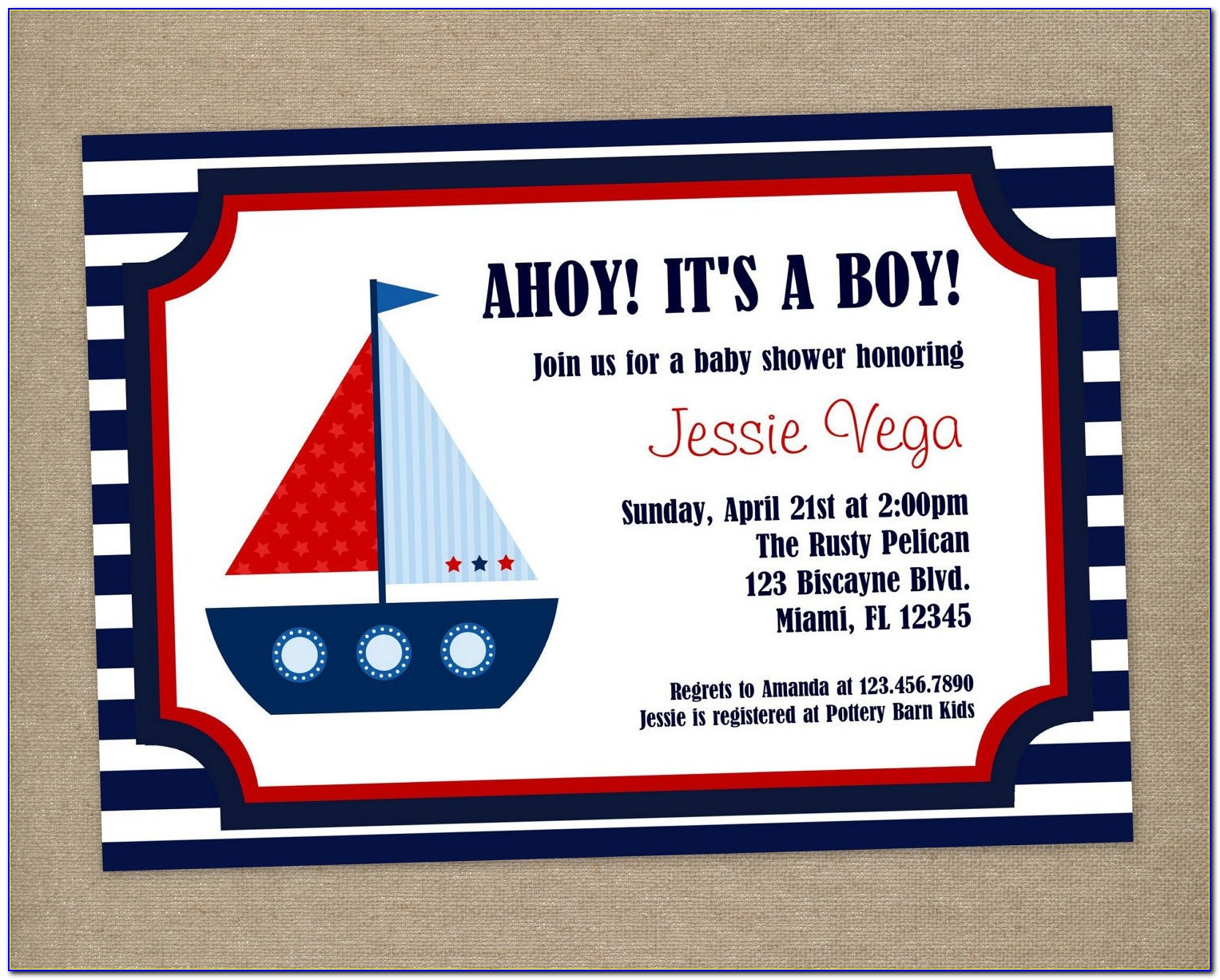 Nautical Birthday Invitation Templates Free