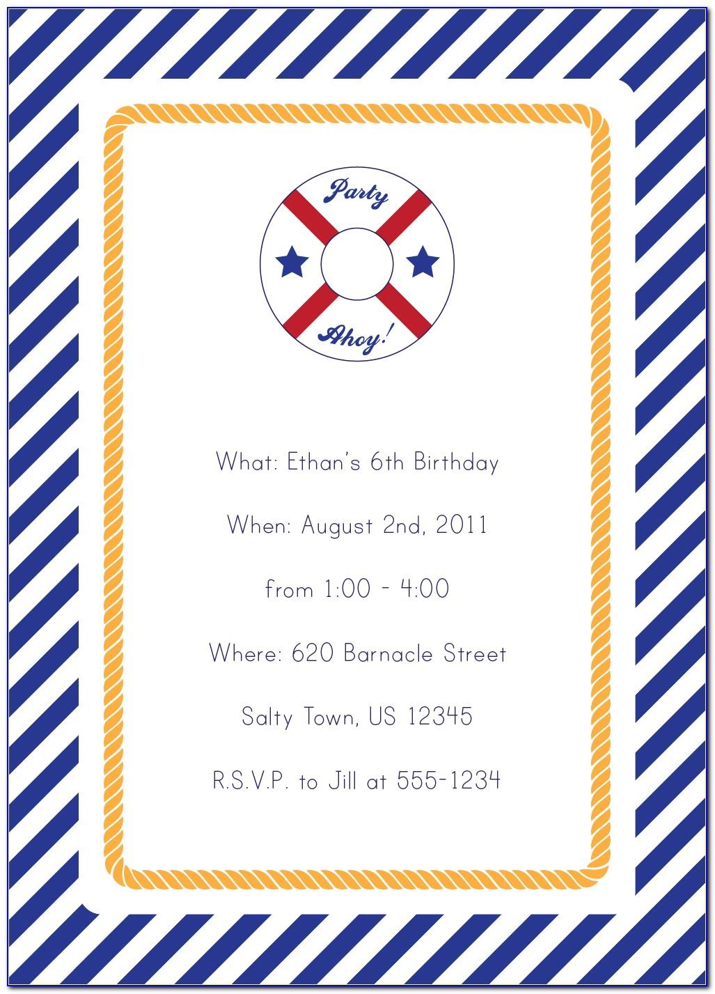 Nautical Birthday Invitation Templates