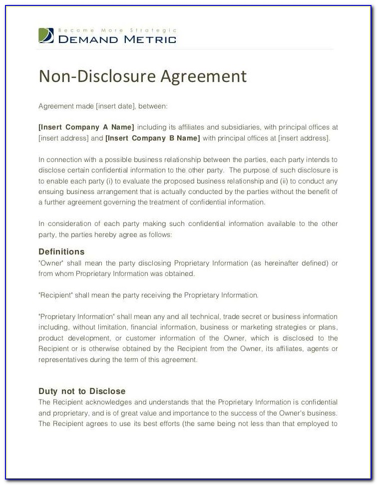 Nda Agreement Template India