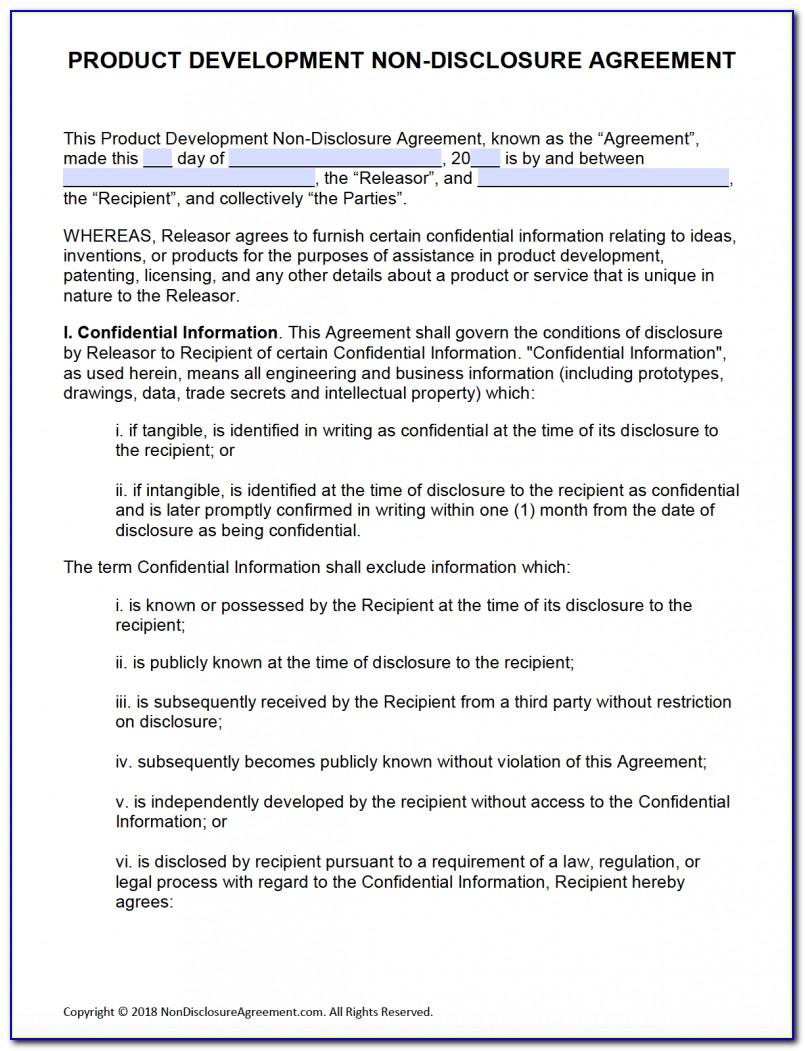 Nda Non Disclosure Agreement Form
