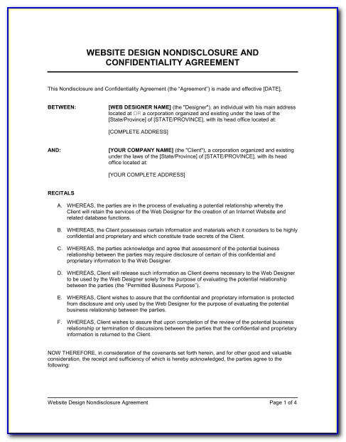 Nda Non Disclosure Agreement Template