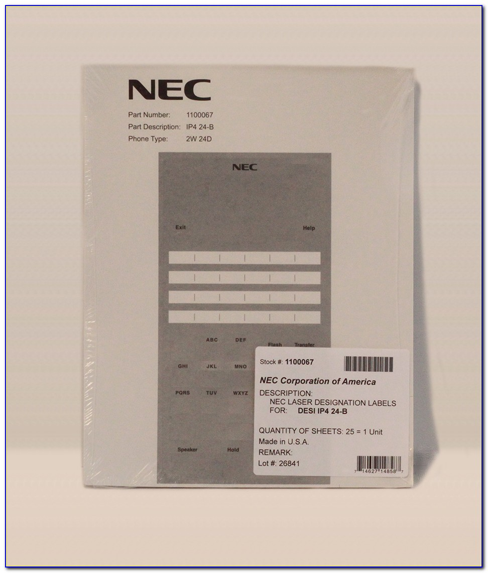 Nec Phone Label Template Software