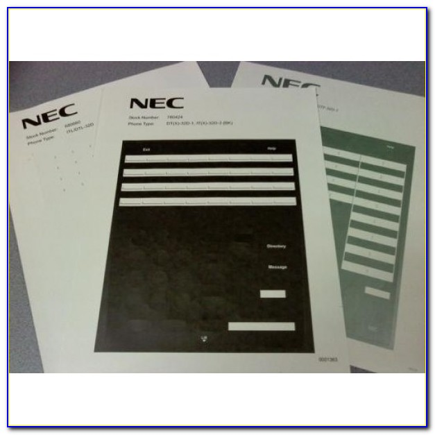 Nec Sl1100 Phone Label Template