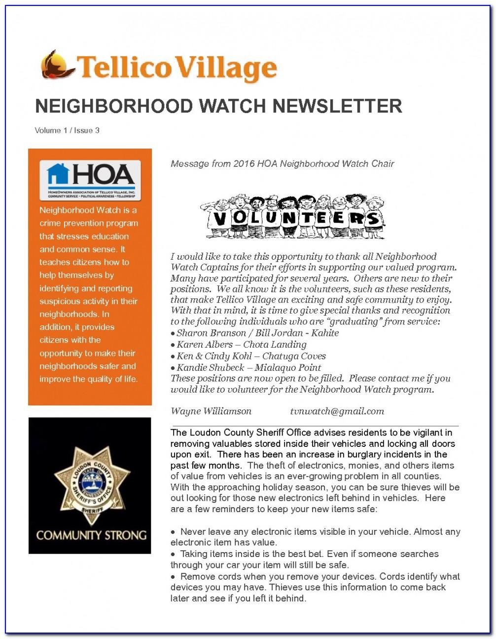 Neighbourhood Watch Newsletter Template