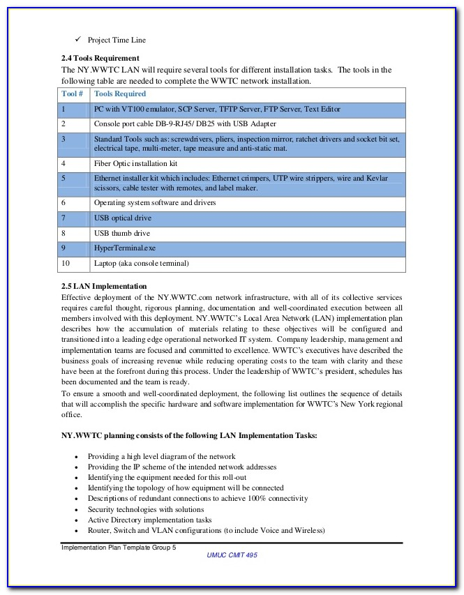 Network Project Handover Document Template
