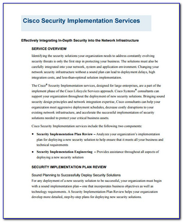 Network Security Implementation Plan Example
