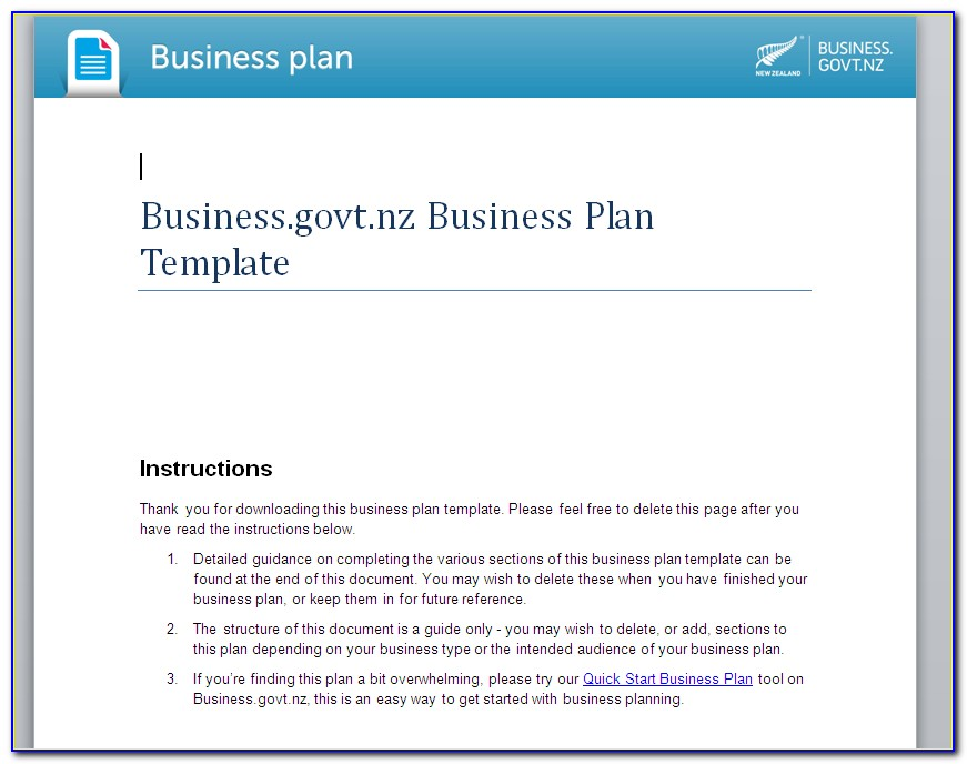 New Business Plan Template Uk