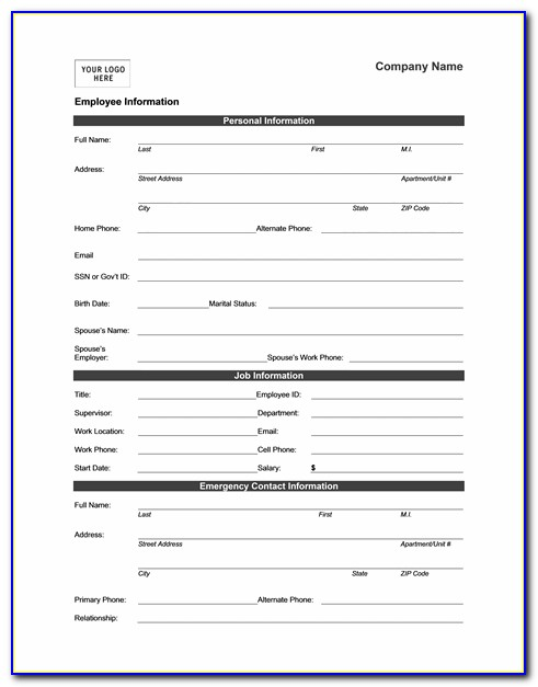New Employee Form Word Template