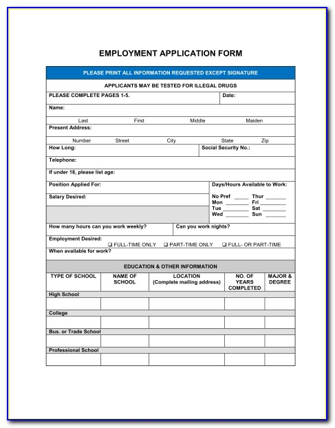 New Employee Information Form Template Canada