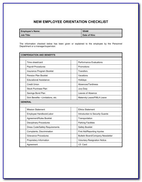 New Employee Orientation Acknowledgement Form
