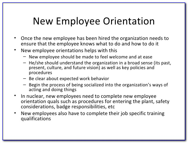 New Employee Orientation Agenda Sample