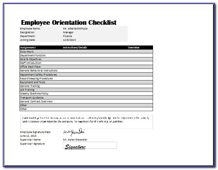 New Employee Orientation Checklist Form