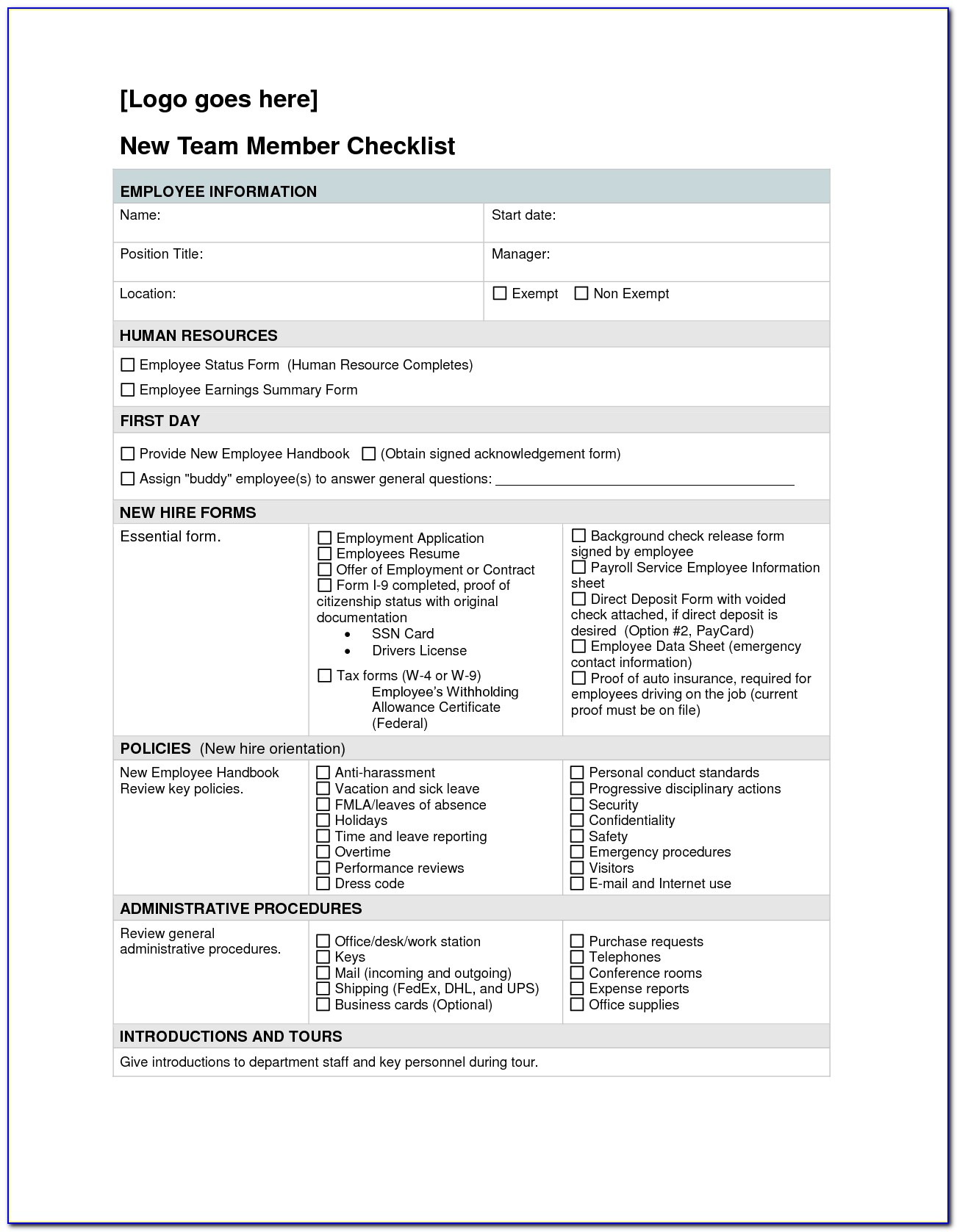 New Employee Orientation Checklist Sample