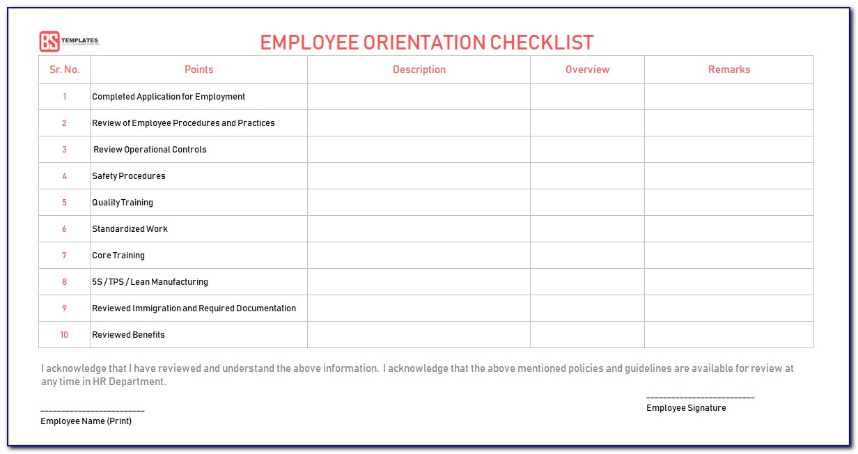 New Employee Orientation Checklist Template