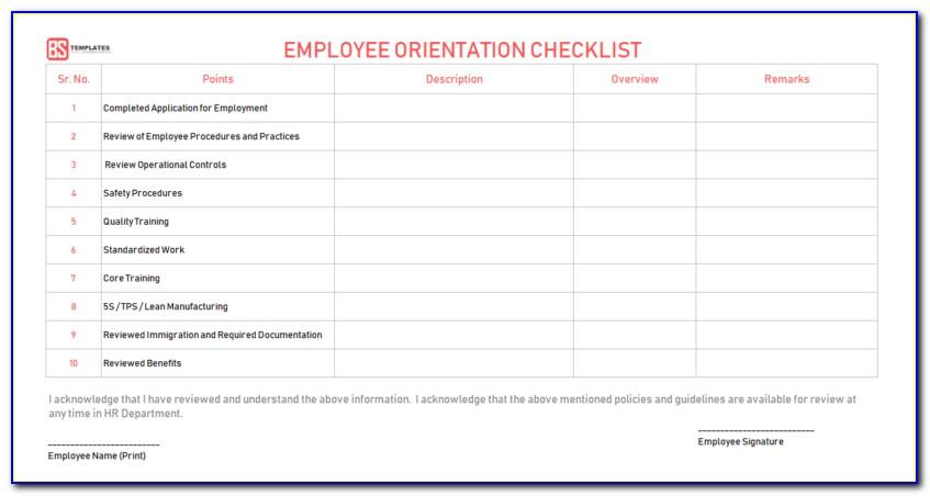 New Employee Orientation Evaluation Form