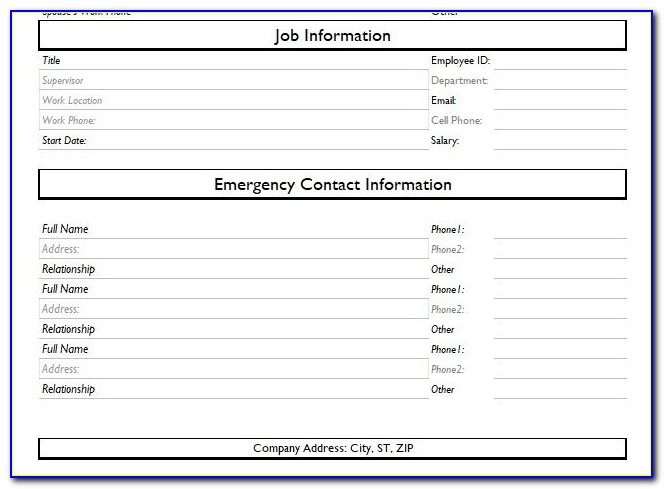 New Employee Personal Information Form Template Canada