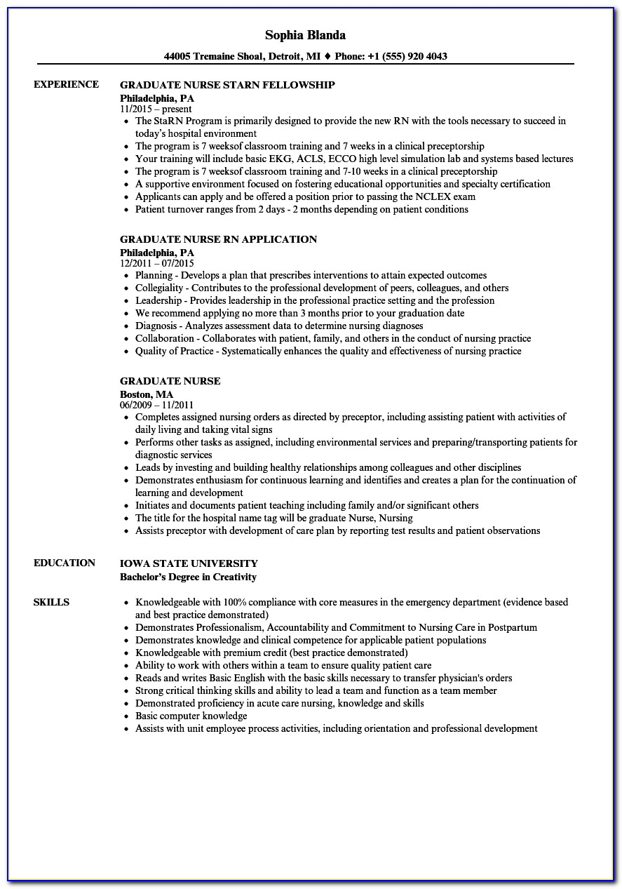 New Grad Acute Care Nurse Practitioner Resume Examples
