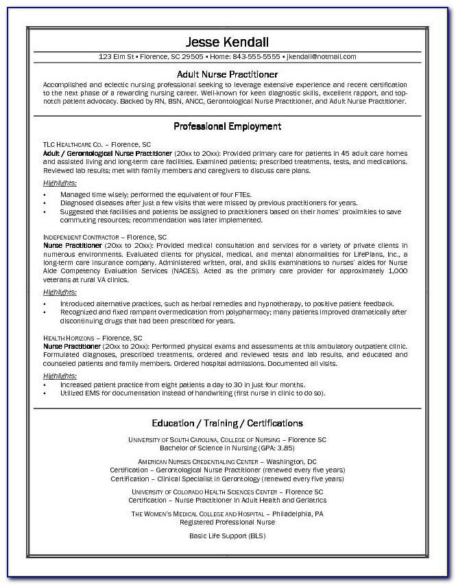 New Grad Nurse Practitioner Cv Example