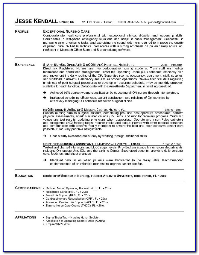 New Grad Registered Nurse Resume Examples