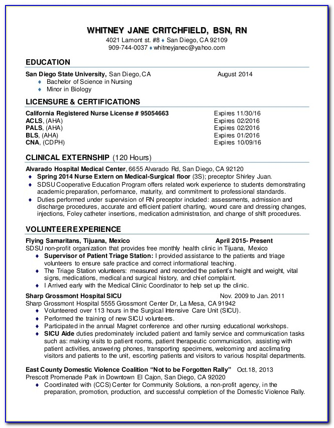 New Grad Rn Resume Examples