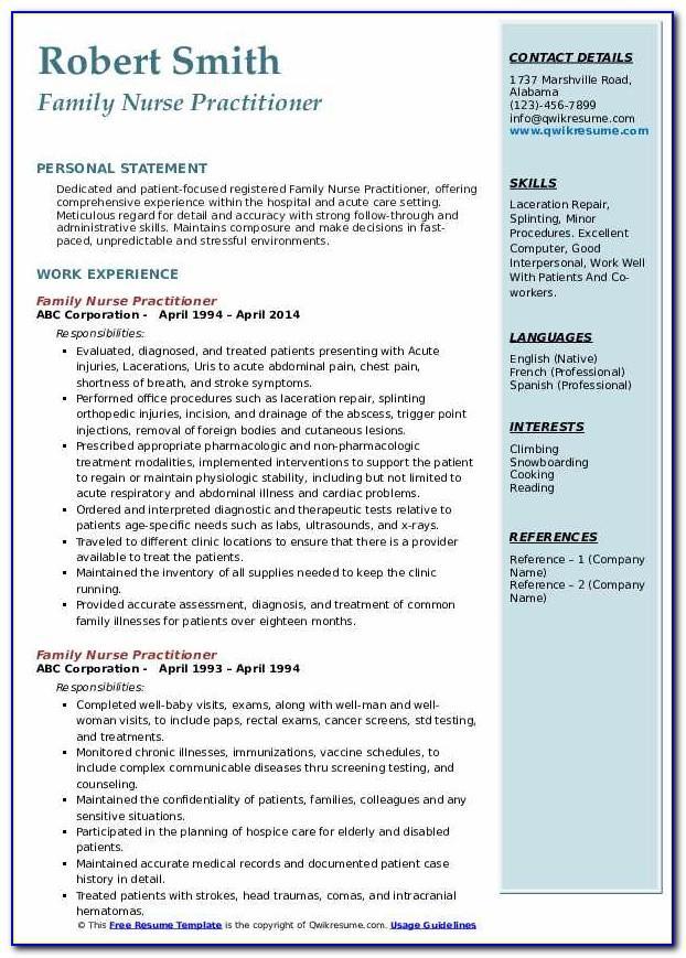 New Graduate Nurse Practitioner Curriculum Vitae Examples
